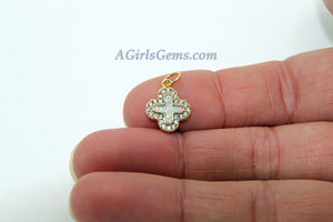 Cross Charm, CZ Micro Pave 18 k Gold/Silver Opal Religious Cross Pendants, Fire Opal Catholic Charms for Christian Necklace Jewelry Making - A Girls Gems