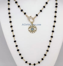 Load image into Gallery viewer, Turquoise Blue Evil Eye Rosary Necklace - A Girls Gems
