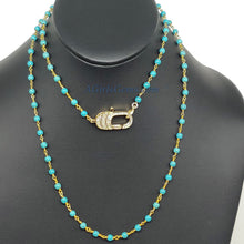 Load image into Gallery viewer, Double Choker Necklace, Turquoise and Gold Rosary Chain Necklace w/CZ Micro Pave Front Lobster Clasp - A Girls Gems