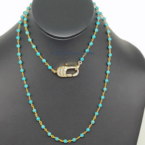 Double Choker Necklace, Turquoise and Gold Rosary Chain Necklace w/CZ Micro Pave Front Lobster Clasp - A Girls Gems
