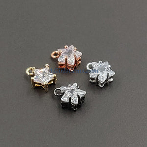 Star Charms CZ Solitaire - 3 Pcs - Tiny Star Dangles, 8 x 10 mm Cubic Zircons - A Girls Gems