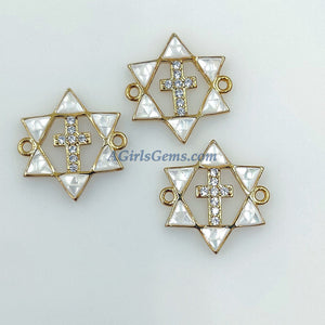 CZ Micro Pave Star of David Cross Connector, 18 k Gold/Silver White Shell 6 Point Star Link - A Girls Gems