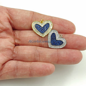 CZ Micro Pave Blue Heart Charms - A Girls Gems
