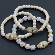 Load image into Gallery viewer, Druzy Bar White Turquoise Evil Eye Beaded Bracelets - A Girls Gems