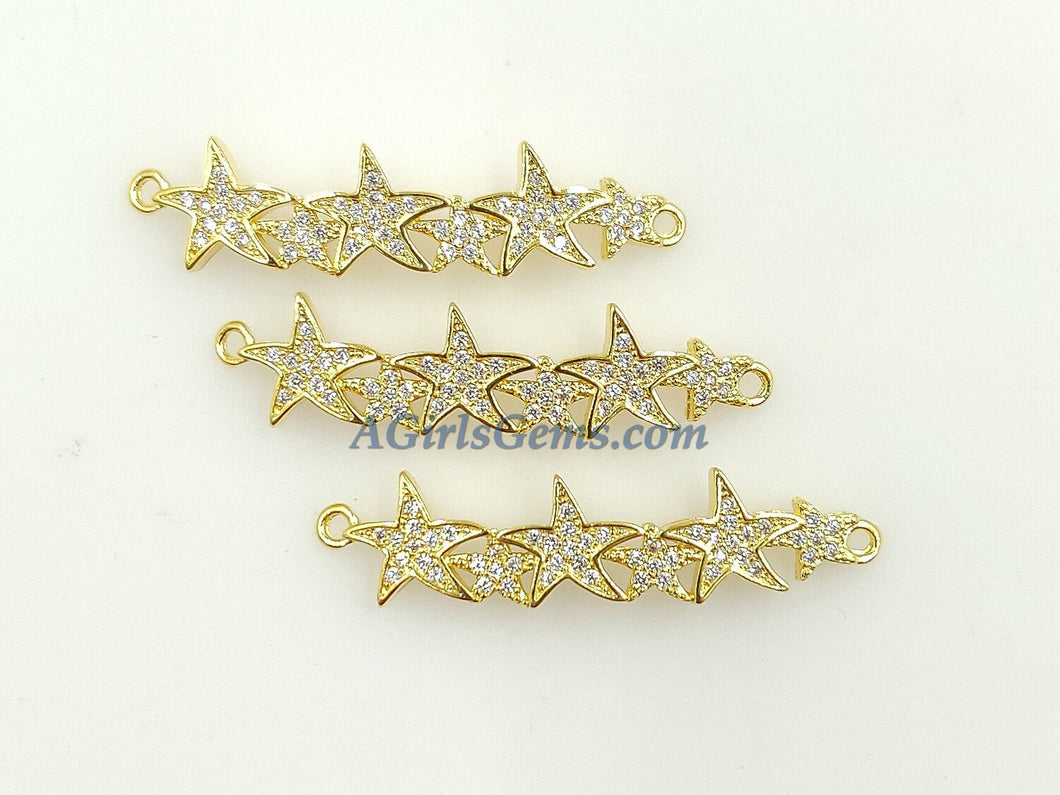 CZ Micro Pave Star Connector - A Girls Gems