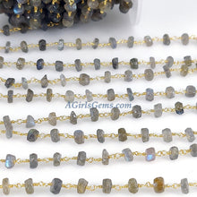 Load image into Gallery viewer, Labradorite Flash Gemstone Beaded Rosary 6 mm Chains, Gold Wire Wrap - A Girls Gems