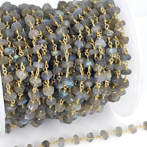 22k Gold Plated Labradorite Flash Gemstone Beaded Rosary 6 mm Chains, Wholesale Boho Wire Wrapped Rondelle Jewelry 1 5 10 feet Chain Bulk