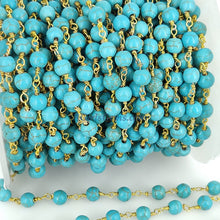 Load image into Gallery viewer, Turquoise Rosary Beaded Chain, 6 mm Wire Wrapped Gold plated Blue Boho Howlite Chain for Necklace Bracelet DIY, By the Foot Wholesale/Bulk