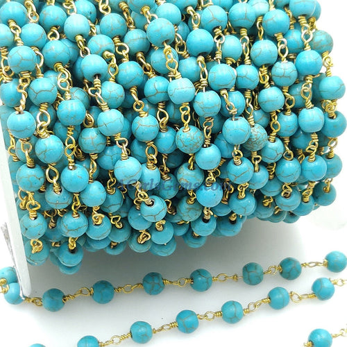 Turquoise Rosary Beaded Chain, 6 mm Wire Wrapped Gold plated Blue Boho Howlite Chain for Necklace Bracelet DIY, By the Foot Wholesale/Bulk