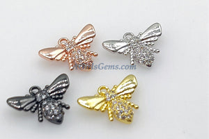 CZ Micro Pave Bumble Bee Charms, Baby Bee Charms for Necklaces, 18 K Gold/Rose/Black/Silver Bee, 11 x 15 mm Honey Bee Jewelry Making