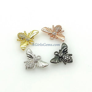 CZ Bee Charms, Tiny Bee Charms, 11 x 15 mm Small Bumble Bee Charms - A Girls Gems