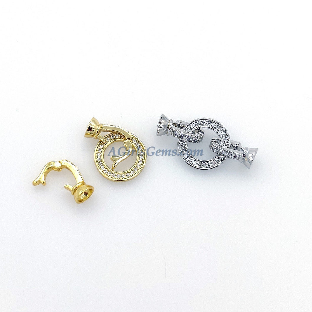 Donut Clasp Buckle, CZ Micro Pave 2 Hole O Ring and Interlocking Clips, Gold or Silver Beading Thread Clasps Findings - A Girls Gems