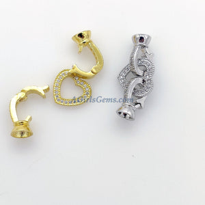 CZ Micro Pave Heart Buckle Clasps with 2 Clips, Gold or Silver Interlocking Link Jewelry Findings - A Girls Gems