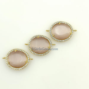 CZ Micro Pave Pink Pendants, Gunmetal Black/Gold Plated Oval Necklace Bezels Cats Eye Glass Fuchsia/Pink/Beige Gray/Opalite White Charms
