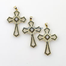 Load image into Gallery viewer, Large Cross Pendant, CZ Micro Paved Charms, Black Pave Clear CZ, Coptic Cross for Gold Necklace, Boho Style DIY Jewelry Making - A Girls Gems