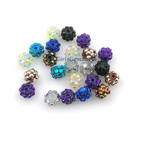 Resin Rhinestone Bumpy Beads 10 mm/Tube Beads, Purple, White and Lavender - A Girls Gems
