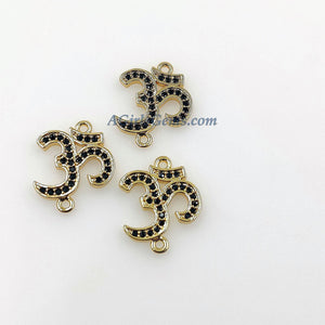 CZ Micro Pave Om Connectors, Buddhist Ohm Yogis Links, Rose/Gold/Silver/Black Paved Ohms - A Girls Gems