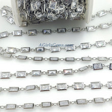 Load image into Gallery viewer, Genuine Cubic Zircon Chains, Rectangle Bezel Chains Silver, Gold Plated - A Girls Gems