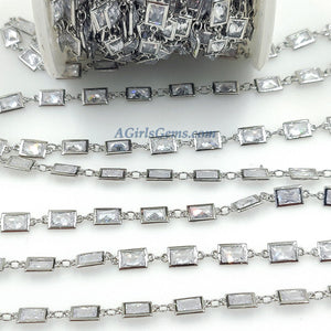 Genuine Cubic Zircon Chains, Rectangle Bezel Chains Silver, Gold Plated - A Girls Gems