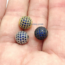 Load image into Gallery viewer, Round Roundel Beads, 2 Pcs CZ Micro Pave Flat Donut Bead - A Girls Gems