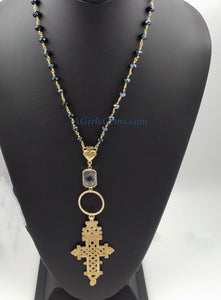 Brass Gold Coptic Cross Necklace, Long Black Rosary Beaded Chain Necklace, Ethiopian Cross, Sacred Heart Religious Catholic Necklaces