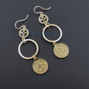 St Benedict Earrings, 14 K Gold Filled Coptic Cross Cubic Zirconia Coin Hoop Dangle Hooks, Religious Cross Saint Benito Catholic Jewelry