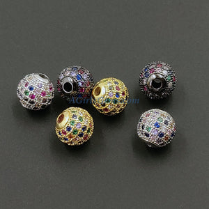 CZ Micro Pave Rainbow Balls, 2 Pcs 6 mm Gold Multi Colored Round Beads, 10 mm Black Silver Focal Bead - A Girls Gems