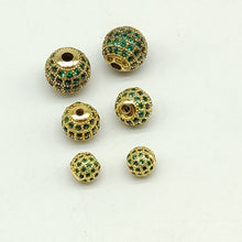 Load image into Gallery viewer, CZ Micro Pave Emerald Green Balls - A Girls Gems