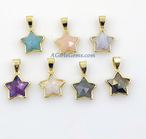 Star Gemstone Charm Pendants, 24 K Gold Filled Amethyst, Pyrite, Labradorite, Moonstone, Amazonite, White Lace Agate, Rose Quartz Bezels