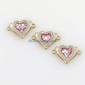 CZ Micro Pave Heart Connectors, Round White Shell Love Charm Beads - A Girls Gems