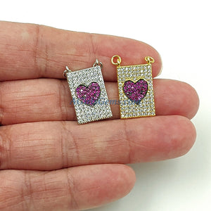 CZ Micro Pave Pink Heart Charm, Scapula Style Fuchsia Rectangle Charm 2 jump ring Pendants Bracelet/Necklace Jewelry Gold/Silver Plated