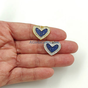 CZ Micro Pave Blue Heart Charms, Sapphire Love Heart Shapes Pendants for Bracelet/Necklace Jewelry Sapphire Cobalt Blues Gold/Silver Plated