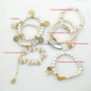 White Turquoise Initial Beaded Bracelet - A Girls Gems
