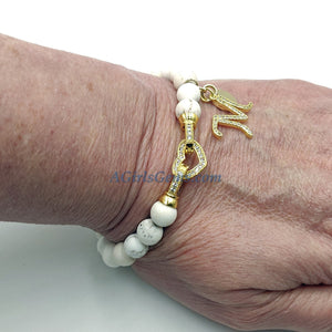 White Turquoise Initial Beaded Bracelet, Natural Matte Boho Stack, CZ Heart Front Clasps Silver/Gold Stacking Stretchy - Regina Harp Designs