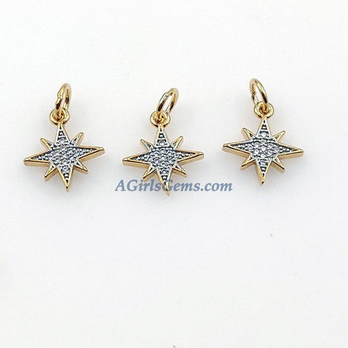 CZ Micro Pave Angel Wings, Star, Horn Tiny Charms Starburst Pendant, Silver Front and Gold Plated Backs, Earrings/Bracelet/Necklace Dangles