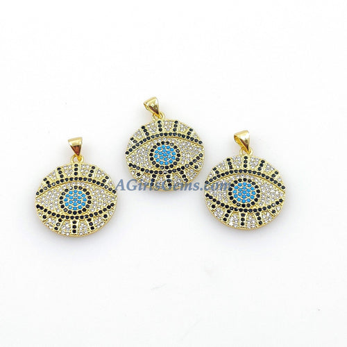 Turquoise Blue Evil Eye Charm Pendants, Gold Plated Turkish Greek Evil Eye, CZ Micro Pave 21 x 24  mm Blue/Sapphire Chain Necklace/Bracelet