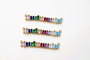 Long Bar Connector, CZ Micro Pave Gold Rainbow Bar Stick, LGBT Pride Baguette Necklace Links - A Girls Gems