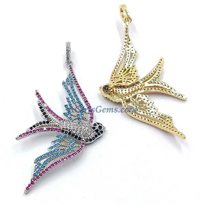 Flying Bird Pendants, Cubic Zirconia Rainbow Colors 18 K Gold/Silver Connector Beads, Blue Turquoise - A Girls Gems