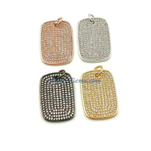 Load image into Gallery viewer, Mini Dog Tag Charms, Tiny CZ Pave Rectangle Rose Gold, Gold - A Girls Gems