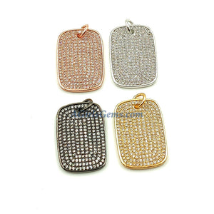 Mini Dog Tag Charms, Tiny CZ Pave Rectangle Rose Gold, Gold - A Girls Gems