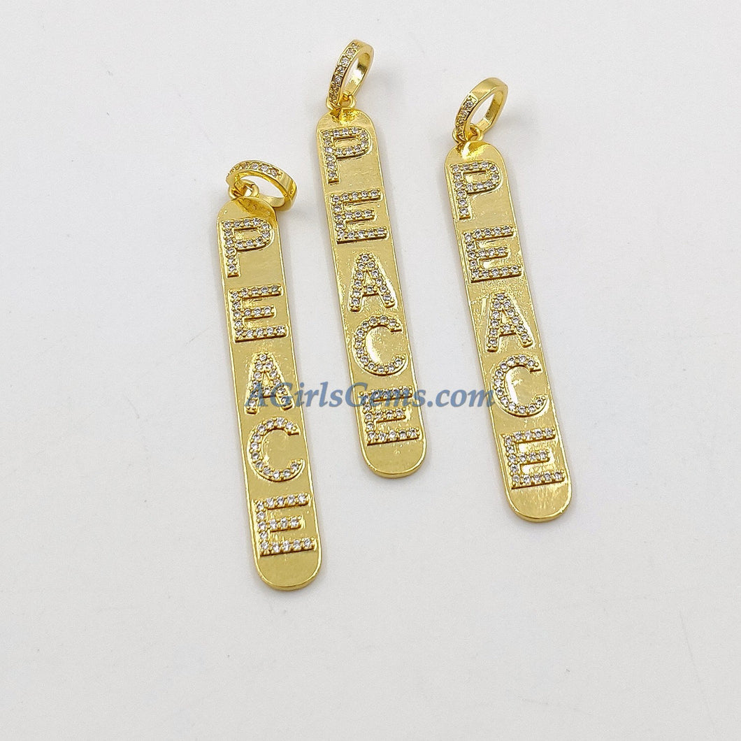 CZ Micro Pave Peace Words Charms 18 K Gold Plated Oblong Rectangle Pendants, Inspirational Dog Tags Long Stick Bar for Necklace Earrings - A Girls Gems