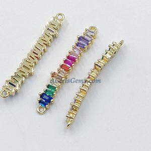 CZ Micro Pave Baguette Disc Connector, Gold Rainbow Round Circle Charms, LGBT Pride 2 Loops for Bracelet - A Girls Gems