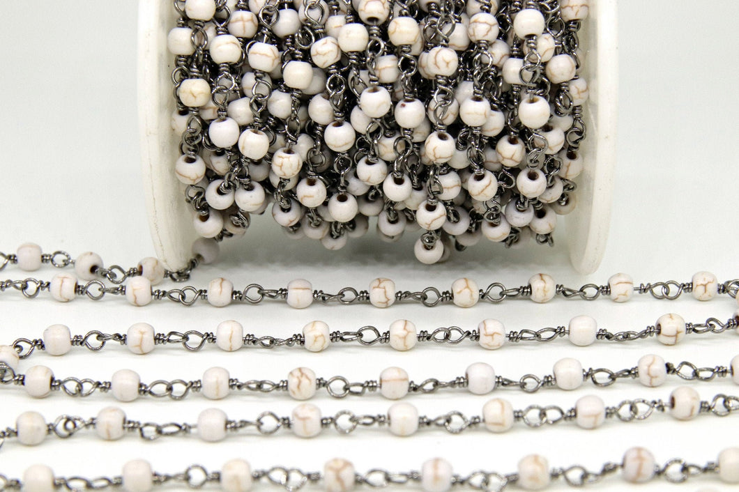 Black Gunmetal Turquoise Rosary Chain, White Cream Silver Wire Wrapped, 4 mm Matte Rondelle Howlite, Boho Necklaces Wholesale, Bulk - A Girls Gems