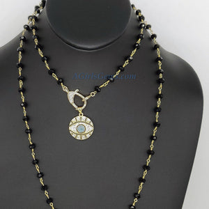 Turquoise Blue Evil Eye Rosary Necklace - A Girls Gems