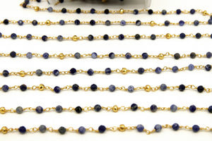 22k Gold Plated Sapphire Rosary Chain, Pyrite 4 mm Chains for Jewelry Making, Wire Wrapped Blue Beads Unfinished Chains, Bulk Wholesale