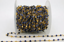 Load image into Gallery viewer, 22k Gold Plated Sapphire Rosary Chain, Pyrite 4 mm Chains for Jewelry Making, Wire Wrapped Blue Beads Unfinished Chains, Bulk Wholesale