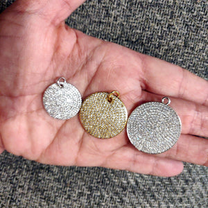 Large Round Disc Pendant - A Girls Gems