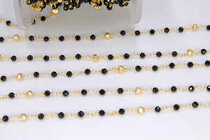 22 k Gold Natural Black Spinel Rosary Chain, 4 mm Gold Pyrite Beaded Wire Wrapped Unfinished Chains by the Foot Diamond cut Gemstone Bulk - A Girls Gems