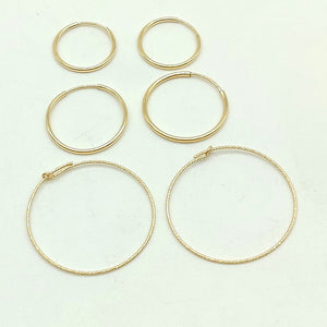 14 K Gold Hoop Earrings, 925 Sterling Silver, Small, Large Round Ear Rings Thick Tube Wire Findings, Add Charms or Beads, Endless Hoops