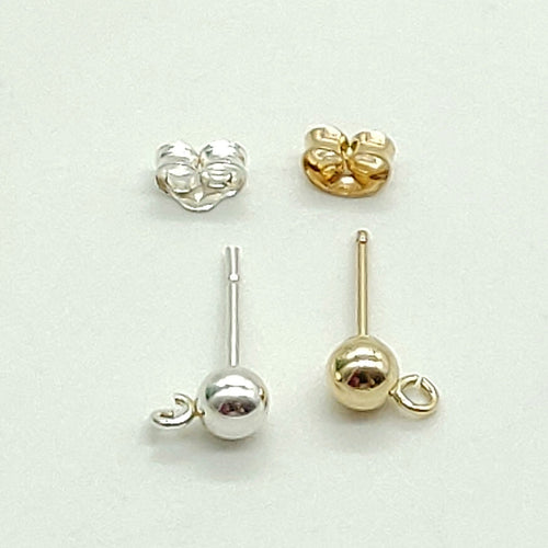 14 K Gold 4 mm Round Ball Earrings, 925 Sterling Silver Studs Post Findings with Open Loops #2128, Component Parts
